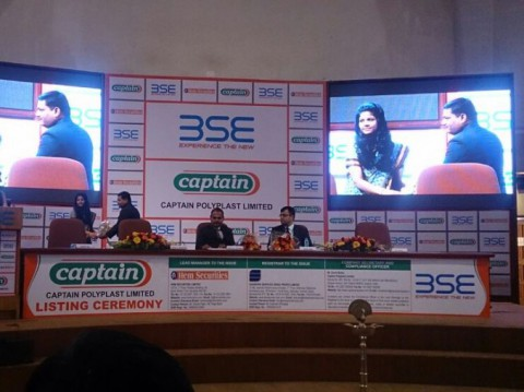 Mr. Gopal Khichadiya of Captain Polyplast receiving Momento from BSE