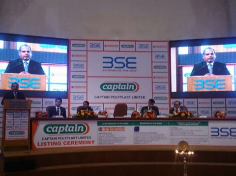 Mr. Ramesh Khichadiya, giving his speech at listing event at BSE