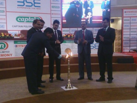 Our board members inaugurates company listing ceremony by lightning lamp at BSE, Mumbai under Captain Polyplast Listed in BSE